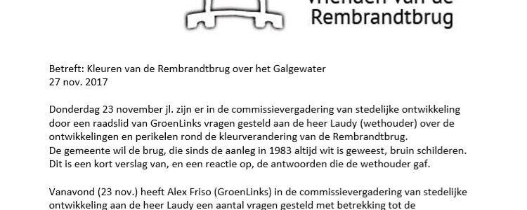 Brief van De Vrienden van de Rembrandtbrug aan de Leidse politieke partijen